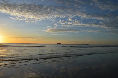 海滩, 日出, o, 海洋, 海, 日落, 自然