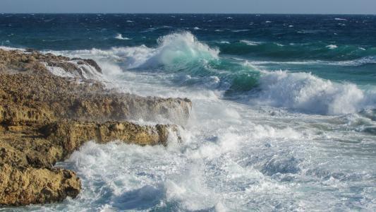 波, 粉碎, 喷雾, 岩质海岸, 野生, 塞浦路斯, 阿依纳帕