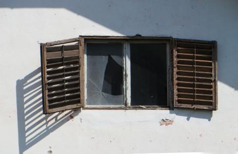 废墟, 窗口, 老, 摧毁了, 快门, 窗口窗格, 玻璃