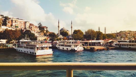 instanbul, 土耳其, 港口, 城市, 湖, 海, 建筑