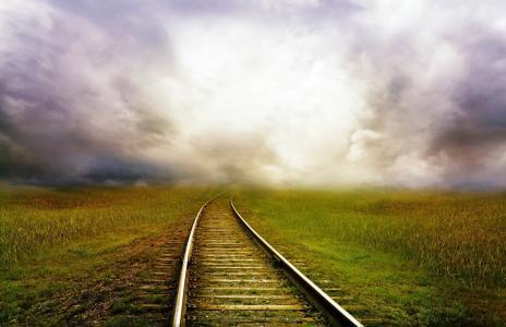 道路, 火车, 景观, 风暴, 云彩, 幻想, 童话故事