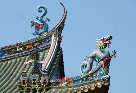 中国, 龙, 屋顶, 屋面, 颜色