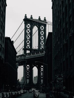 建筑, 黑白, 桥梁, 城市, 基础设施, 道路, 悬索桥