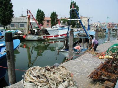 端口, 渔船, 工作, 网络, 海, 码头