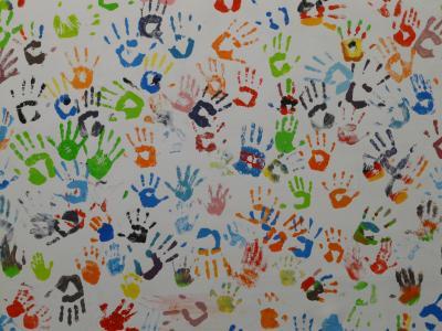 手, 颜色, 壁画, 转载, 多彩