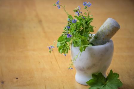 天然药物, 草本从草甸, 自然, 健康, 砂浆, 清洗, 健康的饮食