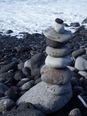 石塔, 平衡, 恢复, entspannng, 海滩, 塔, 石头