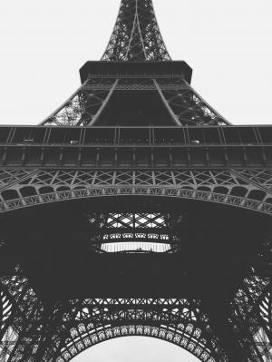 黑白, 埃菲尔铁塔, 法国, 具有里程碑意义, 低角度拍摄, 巴黎, 观点