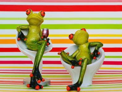 青蛙, 椅子, 舒适的, 两个, 饮料, 葡萄酒, 可爱