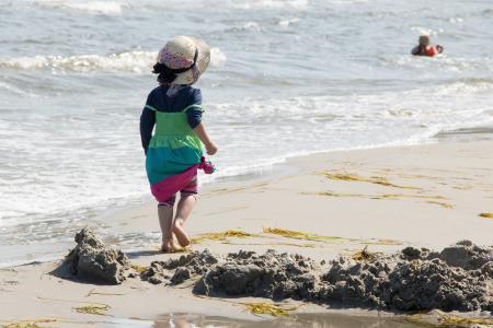 女孩, 海滩, 帽子, 假日, 海, 儿童, 夏季