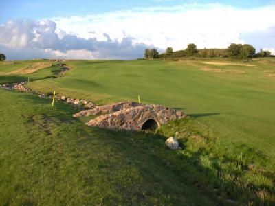 石头, 墙上, 森林, 高尔夫, 课程, 草, 草坪