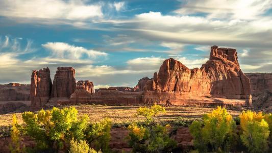 景观, 秋天, 秋天, 拱门国家公园, 砂岩, 地层, 地质