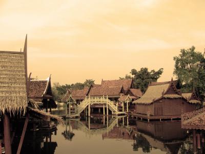 房屋, 泰国, 河, 浮动, 农村, 传统, 木制
