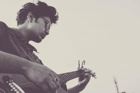 声学, 成人, 乐队, 低音吉他, 黑白, 音乐会, 电吉他