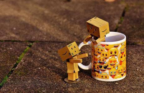 魄, 数字, 杯, 咖啡杯, 在一起, 两个, 有趣