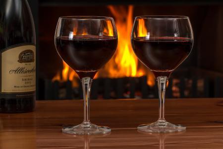 红酒, 眼镜, 日志火灾, 红色, 葡萄酒, 酒精, 饮料