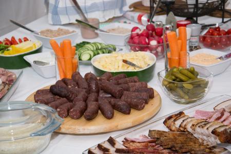 吃, 自助餐, 食品, 受益于, 美味, 凉的自助餐, 血肠