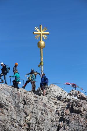 跨峰会, 祖格峰, 德国, 首脑会议, 高山, 山脉, 十字架