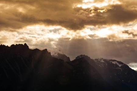 山脉, 山峰, 景观, 天空, 云彩, 阳光, 新光