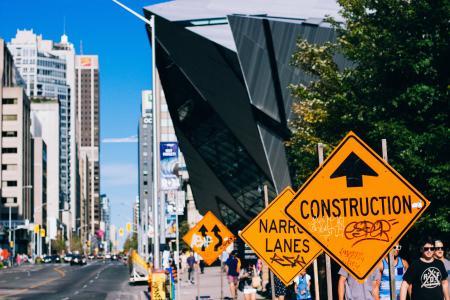 人, 行走, 街道, 标牌, 建设, 建设, 警告标志