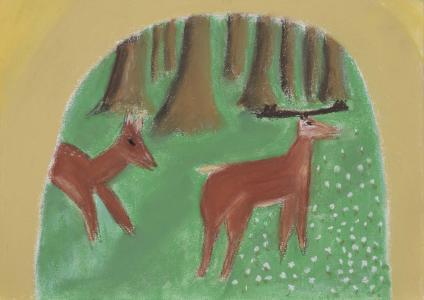 绘图图片, 绘画, 鹿, 森林, 动物, 红鹿, 野生