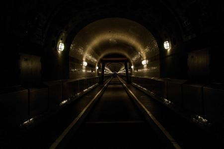 汉堡, 老 elbe 隧道, elbe 隧道, 光, 照明, 过境