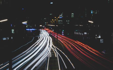 时差, 摄影, 车辆, 晚上, 时间, 照明, 光线轨迹