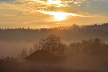 景观, morgenrot, 秋天, 日出, 黎明, 天空, 秋天的心情