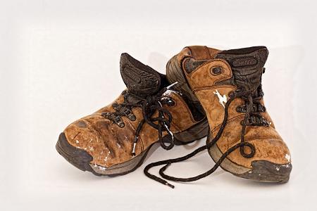 旧鞋, 劳动者, 鞋类, 使用, 戴, 劳工, workboot