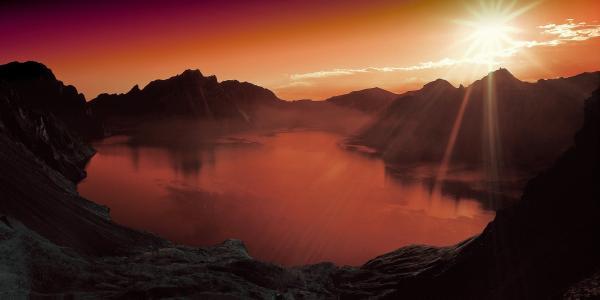 日落, 湖, 山, 风光, 景观, 自然, 水