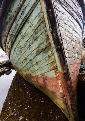 仔细考虑, 残骸, 小船, 苏格兰, 捕鱼, 木材, 船舶