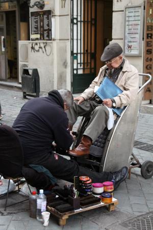 擦鞋童, 老人, 圣地亚哥, 智利