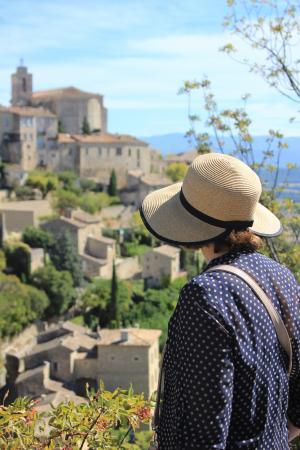女人, 旅游, 戈尔德, 普罗旺斯, 法国, 俯瞰, 观点