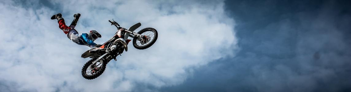 骑自行车的人, 摩托车, 污垢, 一个极端, 自行车, 骑, 体育