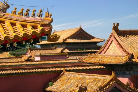 屋顶, 中国, 龙, 建筑, 北京, 宫, 饰品