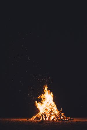 篝火, 沙子, 黑夜, 晚上, 消防, 伍兹, 旅行